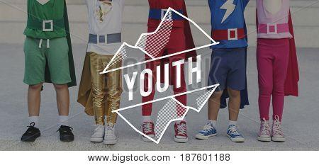 Superhero Kids Children Youth Childhood Word Graphic