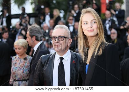 Jean-Paul Gaultier and Vanessa Axente  attends the 'The Killing Of A Sacred Deer' screening during the 70th Cannes Film Festival at Palais des Festivals on May 22, 2017 in Cannes, France.