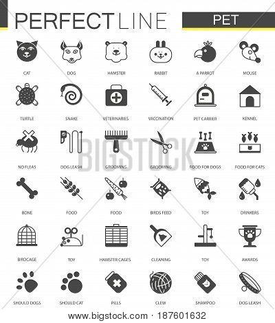 Black classic web Pet shop icons set
