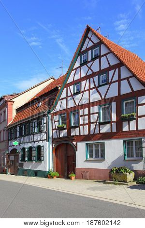 Street and old houses in Germany
