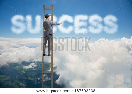 Businessman reaching success with career ladder