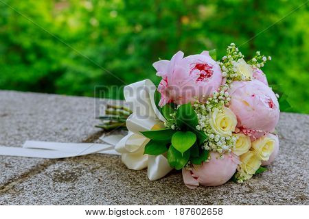 Beautiful Wedding Bouquet On A Green Background