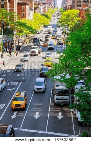 NEW YORK CITY USA - 04 2017 : South bound traffic from NY taxi in the New York Beautiful building and architecture of the city in sight