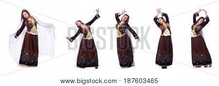 Young lady dancing traditional azeri dance