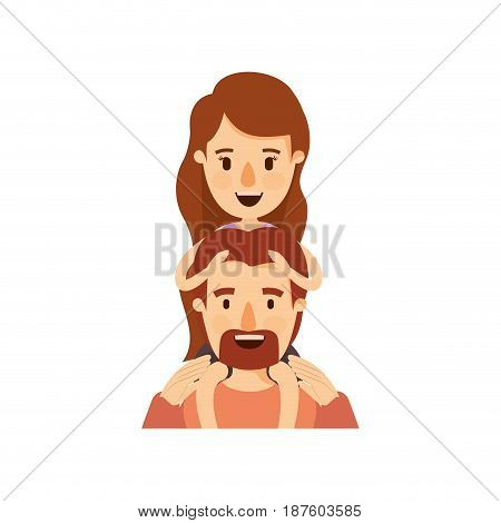 colorful caricature half body bearded father with moustache and girl on his back vector illustration