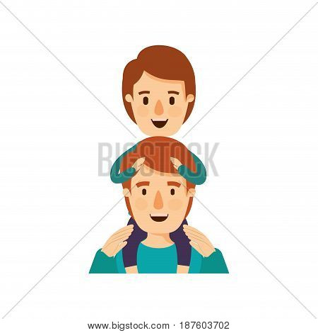 colorful caricature half body young father with boy on his back vector illustration