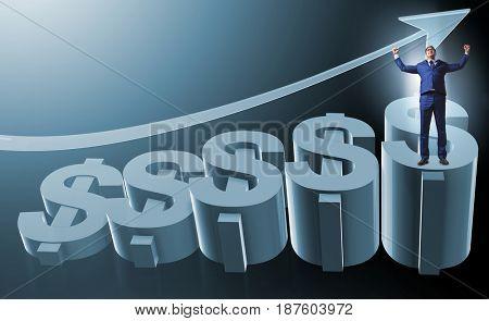 Businessman in american dollar concept