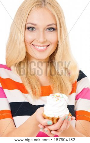 Closeup of smiling woman eating sweet cake on white background
