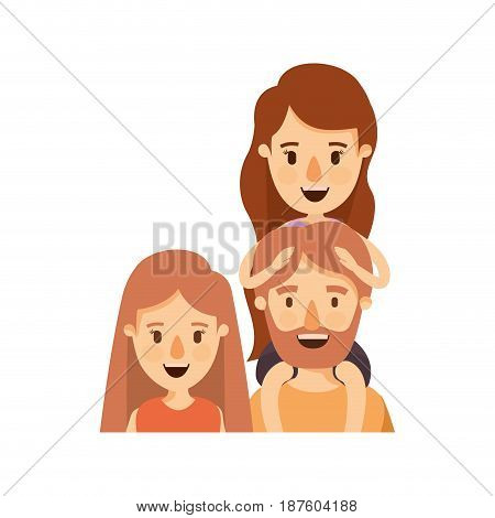 colorful caricature half body family parents with girl on his back vector illustration