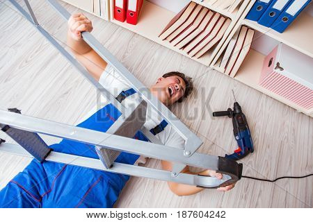 Unsafe behavior concept with falling worker