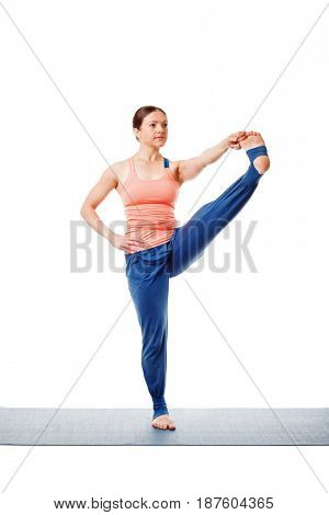 Woman doing Ashtanga Vinyasa yoga asana Utthita hasta padangustasana C - hand to toe pose C isolated on white background