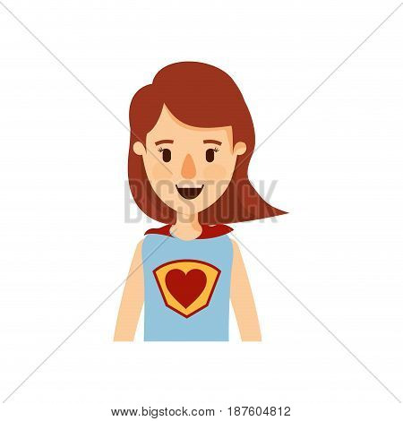 colorful caricature half body super woman with short hair vector illustration