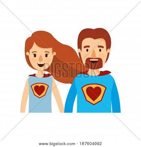 colorful caricature half body couple super hero with heart symbol in uniform vector illustration
