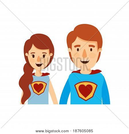 colorful caricature half body young couple female and male super hero with heart symbol in uniform vector illustration