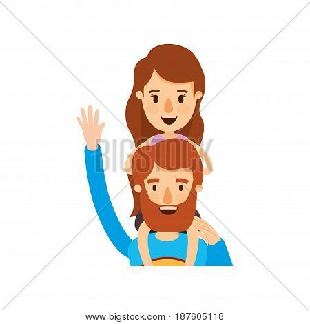 colorful caricature half body super dad hero greeting with girl on his back vector illustration