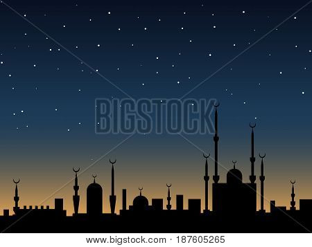 Islamic vector background. Ancient eastern city silhouette over twilight sky