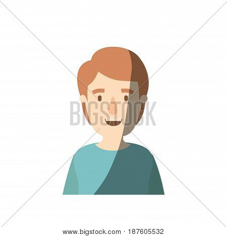 light color shading caricature half body young man with hairstyle vector illustration