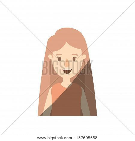 light color shading caricature half body woman with long straight hair vector illustration