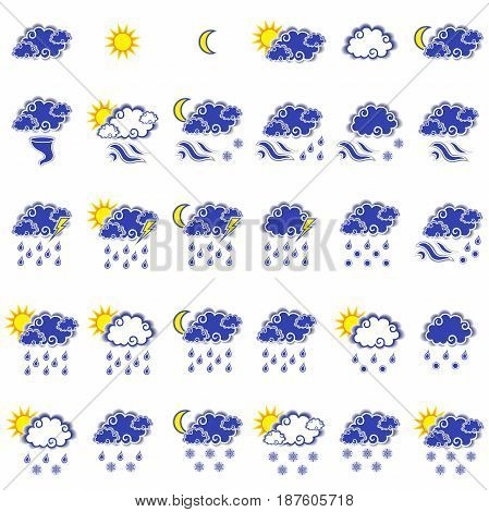 Set Of Thirty Forecast Weather Icons
