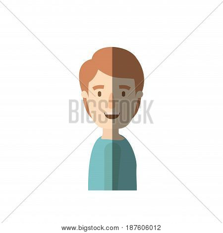 light color shading caricature side view young man with hairstyle vector illustration