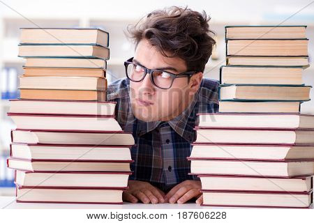 Nerd funny student preparing for university exams