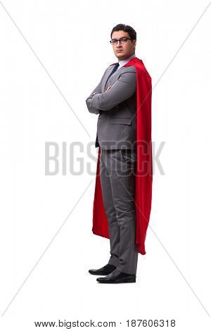 Super hero businessman isolated on white
