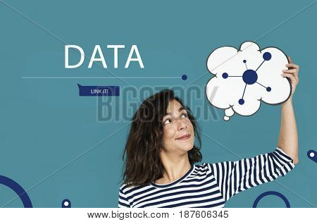 Woman connected by global network communication technology