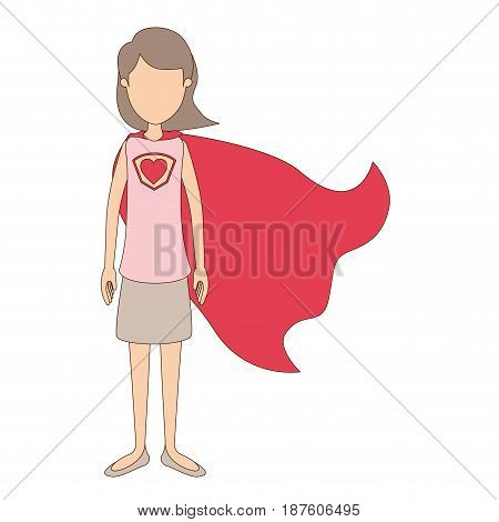 light color caricature faceless full body super hero woman with short hair and cap vector illustration
