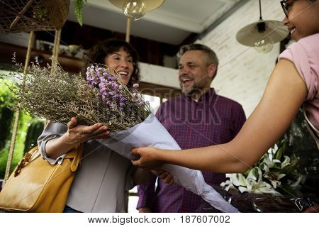 People Buying Bouquet of Flower at Flora Shop