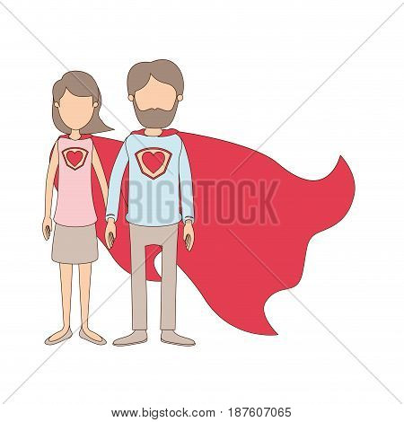 light color caricature faceless full body couple parents super hero with heart symbol in uniform vector illustration