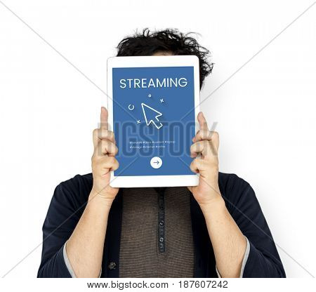 Man holding network graphic overlay digital device covering face