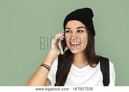 Woman talking mobile phone with smiling