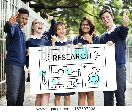 Group of students with illustration of science chemistry experiment study