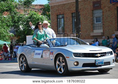 JULY 7, 2014.  CASPER, WY.  CIRCA:  Wyoming governor Matt Mead and wife Carol leading the parade day in Casper, Wy.