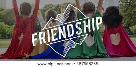 Superheroes Kids Friendship Together Word Graphic