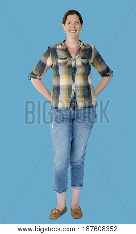 Happiness woman smiling casual studio portrait