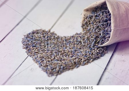 Heart made from dry lavender. Concept love, valentine