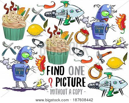 Find one picture without a copy. Educational game for children with cartoon characters.
