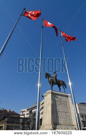 Ankara, Turkey - APRIL 27, 2017: The statue of Ataturk and national flags of modern Turkey in Ulus - Ankara, Turkey