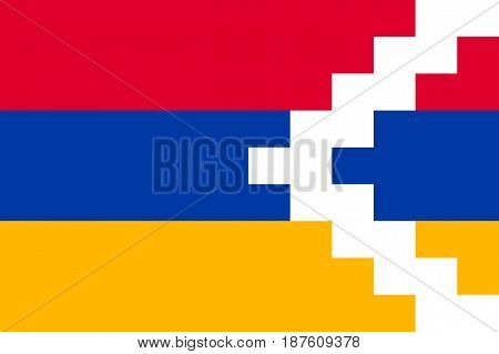 Flag of Nagorno-Karabakh state. Patriotic national sign of Nagorno Karabakh. Official symbol of unrecognised republic in the South Caucasus. Vector icon illustration