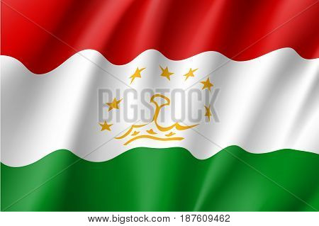 Tajikistan national flag. Patriotic symbol in official country colors. Illustration of Asian state flag. Vector icon