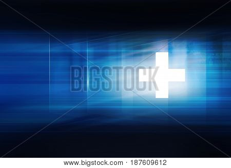 White plus symbol in front of blue background suitable for health care and medical topics news