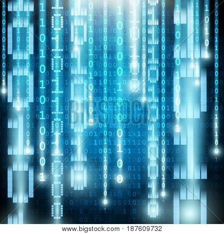 Matrix style binary background with falling number