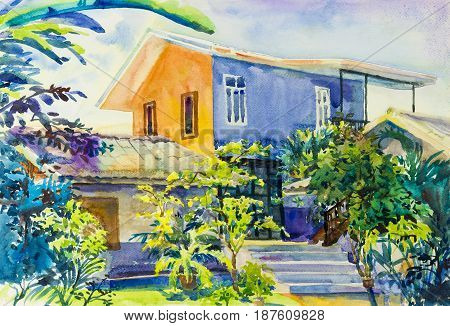Watercolor landscape original painting colorful of house garden green tree and emotion in sky colud background
