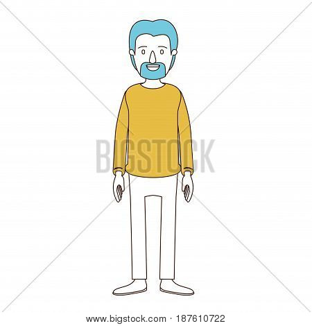 caricature color sections and blue hair of full body male person with beard and moustache with clothing vector illustration
