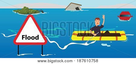 People need help of flood disaster concept illustration
