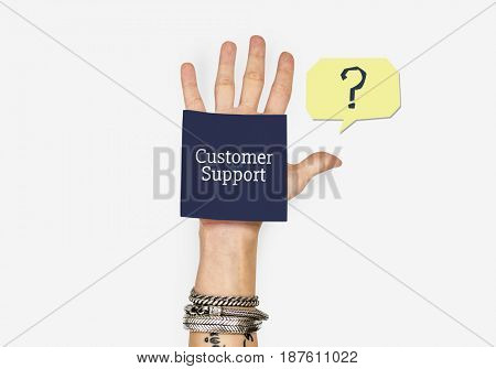 Hand with the word customer service