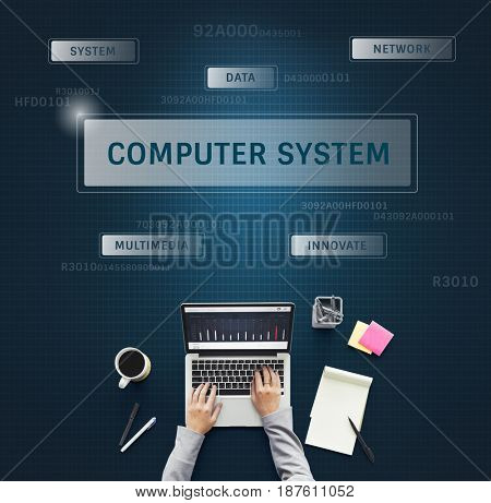 Hand using laptop with graphic of global communication connection technology
