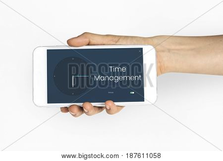 People using smart phone with time clock icon and word