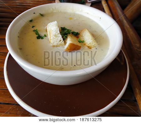 Cream soup with croutons  Appetizer of cream soup with croutons and bits of herbs served on a round white bowl